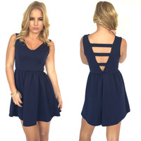 Move It Along Skater Dress In Navy