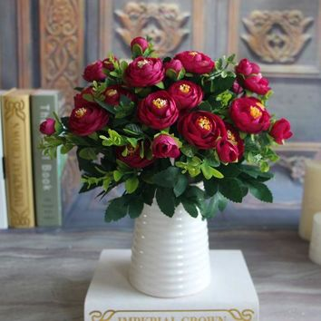 DCCKL72 Silk Flower Fake Peony Flower Hot Vivid 6 Branches Autumn Artificial Flowers Wedding Home Party Decoration High Quality C2