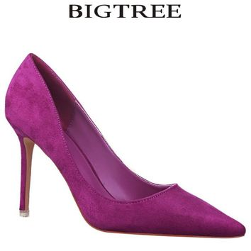 BIGTREE Brand Shoes Woman  Purple Flock High Heels Women Pumps  Metal Heel Wedding Shoes Christmas present  dames schoenen