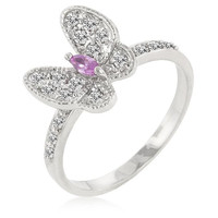 Cubic Zirconia Butterfly Cocktail Ring, size : 05