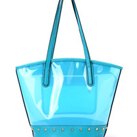 Color Clear Tote in Blue