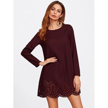 Burgundy Scallop Laser Cut Hem Tunic Dress
