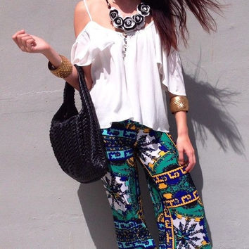 Printed Mid-Waisted Wide Leg Pants