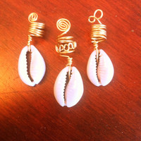 Set of three cowrie shell African loc accessory dreadlock adornment dread bead charm hair falls gold silver or copper