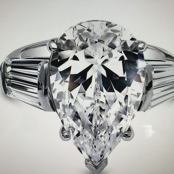 A Flawless 8CT Pear Cut Russian Lab Diamond Step Cut Trapezoid Accents Engagement Ring