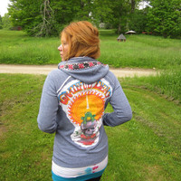 MADE TO ORDER Custom Grateful Dead Hoodie Tshirt Cut Out Applique Hooded Sweatshirt By MountainGirlClothing