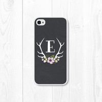 Purple Monogram Floral iPhone Case - iPhone 4 / 4s Custom iPhone Case - iPhone 5 - Personalized iPhone 5s Case - Antler - Chalkboard - Black