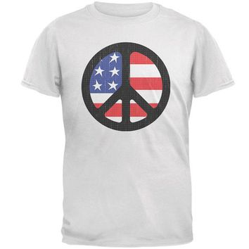 DCCKU3R 4th of July American Flag Peace Sign Distressed Halftone Mens T Shirt