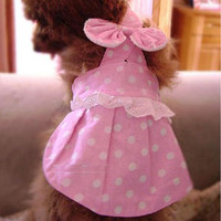 Adorable Dog's Pink Dress w/ White Polka Dot Print for Pet Clothing SMALL-Color Pink