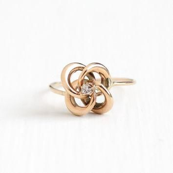 Sale - Antique 10k Rose Gold Diamond Victorian Love Knot Ring - Size 7 1/4 Late 1800s