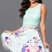 Two Piece Short Floral Print Lace Dress