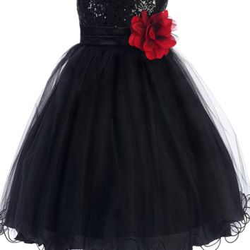 Black Sequin Party Dress with Lettuce Hem Tulle Skirt Baby Girls 3M-24M
