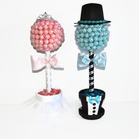 Lollipop Bride and Groom Topiaries, Lollipop Topiary, Candy Topiary, Wedding Centerpiece, Weddings,