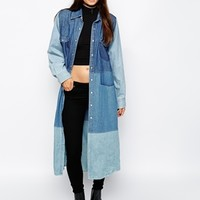 The Ragged Priest Reworked Vintage Longline Patch Denim Shirt Dress