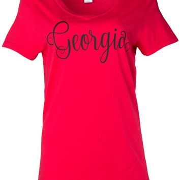 Official NCAA University of Georgia Bulldogs Glory, Glory UGA Women's Short Sleeve Lex Span V-Neck