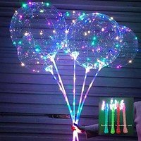 Flashing Lamps Balloon LED With Stick Transparent Balloons Birthday Party Kids Toy Wedding Decorations 3rd Light LED Balloon