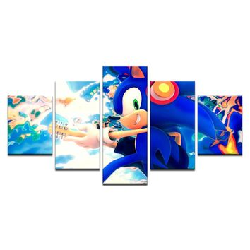 5 Pcs Nice Sonic The Hedgehog Cartoon Poster Canvas Art Home Decor Cloth Fabric Wall Poster Print Silk Fabric Print