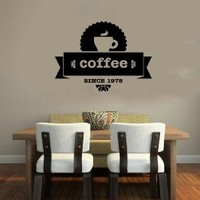 Cup of Coffee Smoke Stamp Logo Emblem Sign Wall Vinyl Decals Art Sticker Home Modern Stylish Interior Decor for Any Room Smooth and Flat Surfaces Housewares Murals Design Graphic Cafe Dining Room Kitchen Coffee Shop (4695)