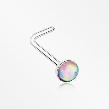 Fire Opal Steel L-Shaped Nose Ring