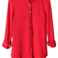 ROMWE Asymmetric Pocketed Long Sleeves Red Shirt