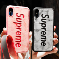 Supreme New fashion letter leather mobile phone case protective case