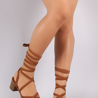 Strappy Open Toe Lace Up Block Heel 3 Colors