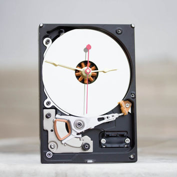 Desk clock from a recycled Computer hard drive - HDD clock - ready to ship - c9363