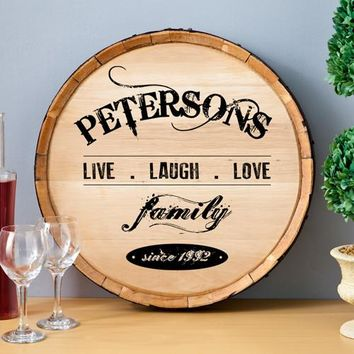 Wine Barrel Sign - Live Laugh Love
