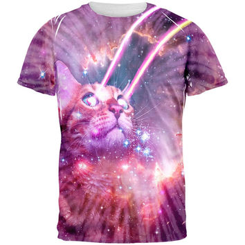 Hippie Galaxy Cat Laser Beams Tie Dye All Over Adult T-Shirt