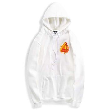 Palace New fashion bust flame letter and back flame letter print thick keep warm hooded long sleeve top sweater White