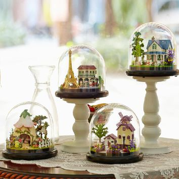 Beautiful Handmade DIY Cottages Music Box Globe Clouche