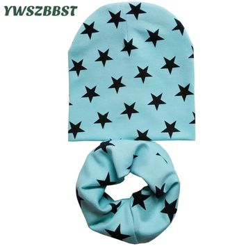 Winter Crochet Baby Hat Girl Boy Cap Kids Beanie Stars Infant Hat Cotton New Children Collar Scarf Baby Cap Child Cap