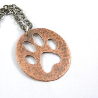 Paw Print Necklace Dog Paw Hammered Copper Round Pendant Mixed Metal Animal Lover