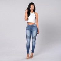Women Slim Fit Mid Waisted Elasticity Jeans