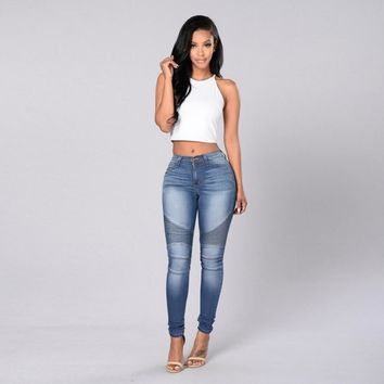 Women Slim Fit Mid Waisted Elasticity Jeans Blue Skinny Denim Pencil Pants For Fashion Laies Girls #LSIW
