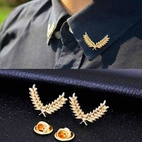 suit shirt collar wheat ear brooch three-dimensional collar pin brooch couples jewelry men and women jewelry
