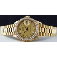 SANT BLANC ROLEX - 26mm 18kt  Gold Ladies President Fashion Champagne DIAMOND Dial