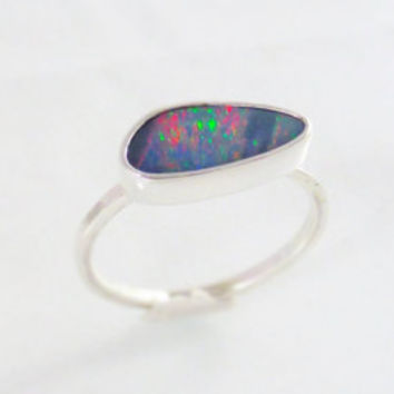 Dark Grayish Lavender Opal Ring, Sterling Silver ring, Australian Opal Ring, Multicolor flashes, Gift for her, ring size 8.5