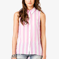 Sleeveless Striped Chiffon Shirt