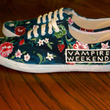 Hand Painted Vampire Weekend Shoes by InfinityOnBandShoes on Etsy