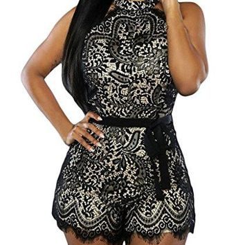 Womens Sexy Lace Overlay Sleeveless Party Romper Clubwear