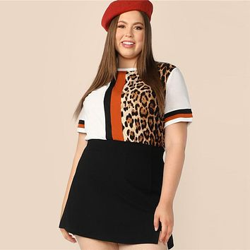 Plus Size Cut And Sew Striped Leopard Top Women Colorblock Casual Round Neck Tee Highstreet Weekend T-shirt