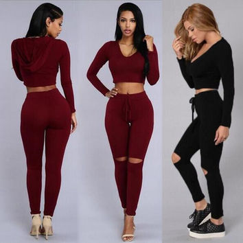 2 piece Crop Top Black & Winerer Red outfits pants sets