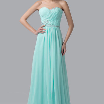 Pale Turquoise Off-Shoulder Beaded Ruched Flounce Maxi Dress