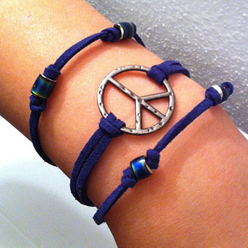 Peace sign and mood beads on navy blue leather cord stackable bracelets