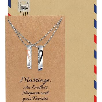 Mildred Couple Bar Pendants, Set of 2 with His Crazy and Her Weirdo Inscription with Greeting Card