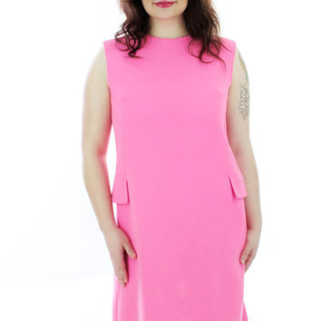 Mod Bright Pink Wool Dress 60s Vintage Sixties Shift Pockets Mad Men 1960s 70s 1970s Large L