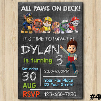 Paw Patrol Invitation, Paw Patrol Chalkboard Birthday Invitation, Paw Patrol Birthday Party, Themed Birthday Party, custom invite (#400)