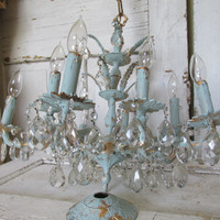Large brass chandelier 10 arm Shabby elegant chic hand painted blue with gold accent 71 crystals ornate home decor anita spero