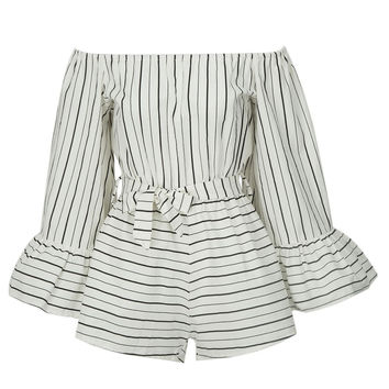 White Stripe Off Shoulder Bell Sleeve Tie Waist Romper Playsuit
